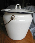 Click here to enlarge image and see more about item graniteware60713: Antique Graniteware Chamber Pot Slop Bucket