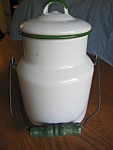 Click here to enlarge image and see more about item gw9308b: Green Trim Graniteware Milk Can