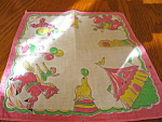 Click here to enlarge image and see more about item hanky70613: Pink Circus Hanky Vintage