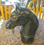 Click here to enlarge image and see more about item hitchingpost100310: Horse Head Antique Hitching Post