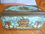 Click here to enlarge image and see more about item humidor2098: Vintage Tin Cigar Humidor