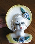 Click here to enlarge image and see more about item hv205011a: Vintage Head Vase Wallpocket