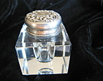Antique Sterling Repousse Inkwell