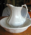 Click here to enlarge image and see more about item jstaff807: Antique Johnson Bros. Ironstone Pitcher & Bowl