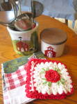 Click here to enlarge image and see more about item kgads0315: Ransbottom Crocks w/Red Kitchen Collectibles