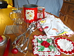 Click here to enlarge image and see more about item kgads10863: Awesome Vintage Red Kitchen Collectibles