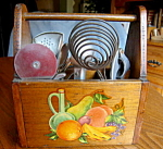 Click here to enlarge image and see more about item kitchengadgets907: Wood Carrier and Vintage Kitchen Gadgets