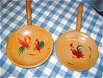 Click here to enlarge image and see more about item kroos07071: Red Rooster Vintage Snack Bowls
