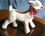 Click here to enlarge image and see more about item lamb70426: Vintage Pink Bow Lamb Planter