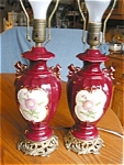 Click here to enlarge image and see more about item lamps10505: Two Matched Vintage Ceramic Lamps