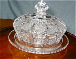 Click here to enlarge image and see more about item leadcrys12031: Cut Crystal Butter Dish