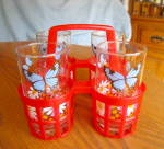 Four Libbey Butterfly Glasses & Carrier