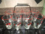 Click here to enlarge image and see more about item libbeyglasses: Libbey Glass Set w/Carrier