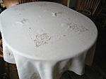 Click here to enlarge image and see more about item linen10730:  Linen Embroidered Tablecloth Oblong