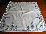 Click to view larger image of Square Vintage Embroidered Cotton Tablecloth (Image1)