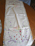 Click here to enlarge image and see more about item linen60629: Embroidered Ladies Table Runner