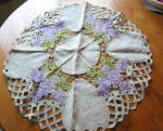 Click here to enlarge image and see more about item linendoily0915: Embroidered Linen Table Center Doily