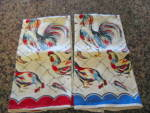 Click here to enlarge image and see more about item linens090611: Vintage Rooster Kitchen Towels