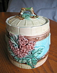 Click here to enlarge image and see more about item majolica101308: Majolica Vintage Flower and Picket Fence Jar