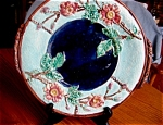 Click here to enlarge image and see more about item majolica10515: Antique Majolica Rose and Rope Platter