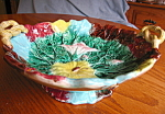 Click here to enlarge image and see more about item majolica92907: Majolica Antique Morning Glory Bowl