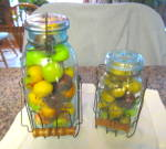 Click here to enlarge image and see more about item masonjars2013: Antique Mason Jars w/Wire Carriers