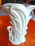 Click here to enlarge image and see more about item mccoy2081: Vintage McCoy Aqua Swan Vase