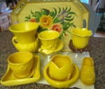 Click to view larger image of Vintage McCoy Yellow Pot and Saucer (Image7)