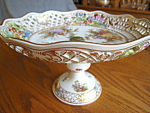 Click here to enlarge image and see more about item meissen60629: Enameled Vintage Dresden Porcelain Compote