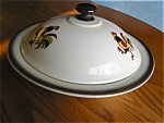 Click here to enlarge image and see more about item metlox110409c: Vintage Metlox Red Rooster Casserole