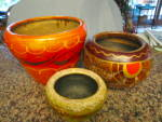Click here to enlarge image and see more about item mexipots110810: Vintage Mexican Pottery Planters