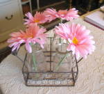 Milk Bottles Vintage & Wire Basket