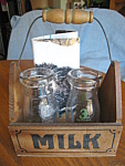 Click here to enlarge image and see more about item milks3093: Vintage Half Pint Milk Bottle Display