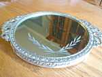 Click here to enlarge image and see more about item mirror1107: Small Vintage Etched Mirrored Tray