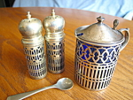 Click here to enlarge image and see more about item mustard90403a: Vintage Sterling Silver Dry Mustard w/Shakers