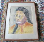 Click here to enlarge image and see more about item nativeart3013: Charcoal Portrait of Native American