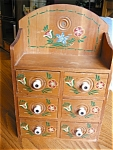 Click here to enlarge image and see more about item notions80425: Vintage Wood Spice Cabinet