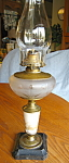 Click here to enlarge image and see more about item oillamp120603: Antique Painted Queen Anne Oil Lamp