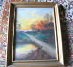 Click here to enlarge image and see more about item oilpainting100211: Signed Oil Painting Vintage Hudsons