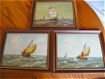 Click to view larger image of Three Holland Oil Paintings - Sailing Ships (Image1)