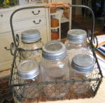 Click here to enlarge image and see more about item oldjarbasket1013: Glass Vintage Jars Zinc Lids