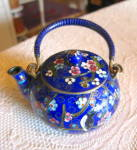 Click here to enlarge image and see more about item orientalteapot0515: Small Vintage Oriental Cloisonne Teapot