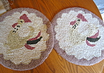 Click here to enlarge image and see more about item pads70802: Vintage Chenille Rooster Chair Pads