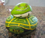 Click here to enlarge image and see more about item paintedrocks1112: Hand Painted Frog and Turtle Rocks