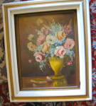 Click here to enlarge image and see more about item painting0616: A. Walker Floral Painting Vintage