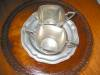 Click to view larger image of Vintage White Pewter Creamer and Sugar (Image2)