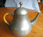 Click here to enlarge image and see more about item pewter: Vintage KMD Holland Pewter Teapot