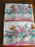 Click here to enlarge image and see more about item pillow10505: Embroidered Roses and Butterflies Pillowcases