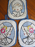 Click to view larger image of Vintage Embroidered Ladies Potholders (Image1)