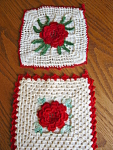 Click here to enlarge image and see more about item potholders70627: Vintage Crocheted Red Rose Potholders